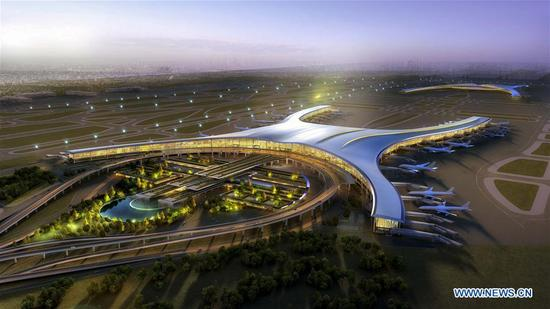 Photo provided by the Jiangbei Airport shows the randering of the design of the T3A terminal building of the Jiangbei Airport in Chongqing, southwest China. The T3A terminal and the third runway of the airport are put into operation on Aug. 29, 2017. (Xinhua/Liu Chan)