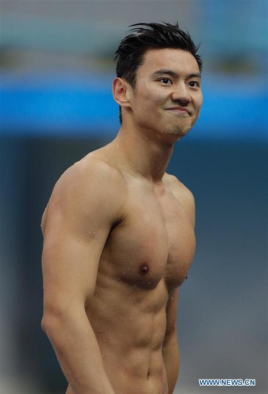 Ning Zetao of Henan reacts after the men's 100m freestyle swimming final at 13th Chinese National Games in north China's Tianjin Municipality, Sept. 4, 2017. Ning Zetao claimed the title with 47.92 seconds. (Xinhua/Ding Xu)