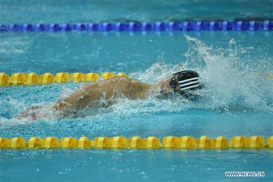 Ning Zetao of Henan competes during the men's 100m freestyle swimming final at 13th Chinese National Games in north China's Tianjin Municipality, Sept. 4, 2017. Ning Zetao claimed the title with 47.92 seconds. (Xinhua/Lian Zhen)
