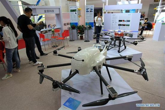 A multi-purpose drone is seen during a high technology and equipment show of the China-Arab States Expo in Yinchuan, capital of northwest China's Ningxia Hui Autonomous Region, Sept. 7, 2017. Nearly 200 pieces of exhibits from 126 exhibitors all across the country were displayed on the show. (Xinhua/Sui Xiankai)