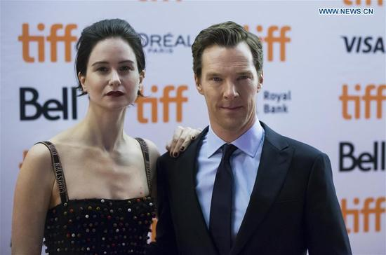 Actor Benedict Cumberbatch (R) and actress Katherine Waterston attend the premiere of the film