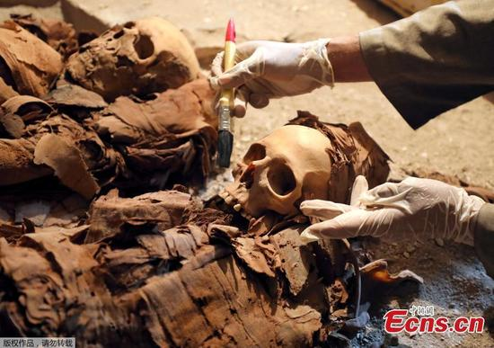 An Egyptian antiquities worker is seen in the recently discovered tomb of Amenemhat, a goldsmith from the New Kingdom, at the Draa Abu-el Naga necropolis near the Nile city of Luxor, south of Cairo, Egypt, September 9, 2017. An incredible mummy-filled tomb belonging to a royal goldsmith who lived more than 3,500 years ago has been uncovered in Egypt's famed Valley of the Kings. The tomb is located on the west bank of the river Nile in a cemetery for noblemen and prominent officials in the southern city of Luxor. The Ministry of Antiquities has identified the goldsmith as a man named Amenemhat who belonged to the 18th dynasty of Egypt, around 1400 years BC. His wife Amenhotep was also laid to rest in the tomb along with their son.(Photo/Agencies)