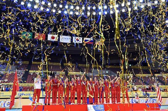 Team China celebrate during the awarding ceremony for FIVB Women's Grand Champions Cup 2017 at Nippon Gaishi Hall in Nagoya, Japan on Sept. 10, 2017. Team China claimed the title with five victories in a row after round robin matches on Sunday. (Xinhua/Ma Ping)