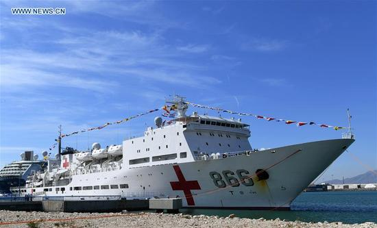 The Peace Ark, hospital ship of the Navy of the Chinese People's Liberation Army, is seen at Port Malaga, Spain, on Sept. 10, 2017. Chinese navy's hospital ship Peace Ark arrived in Malaga on Sunday for a three-day stopover. (Xinhua/Guo Qiuda)