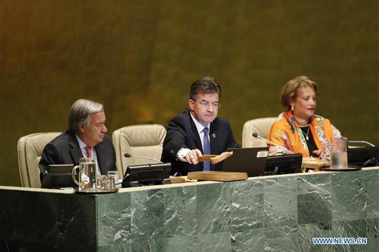 Miroslav Lajcak (C), President of the 72nd session of the United Nations General Assembly, gavels to open the 72nd session of the UN General Assembly at the UN headquarters in New York, Sept. 12, 2017. (Xinhua/Li Muzi)