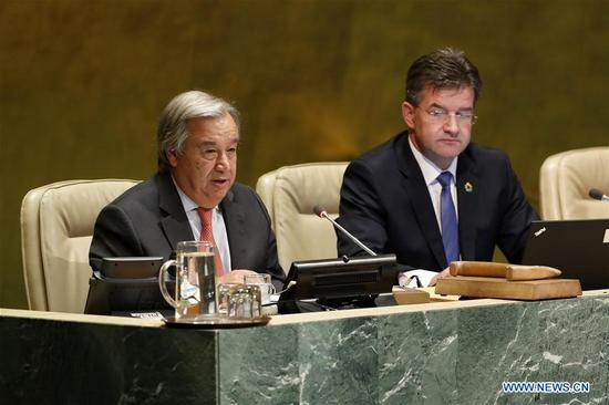 United Nations Secretary-General Antonio Guterres (L) addresses the opening of the 72nd session of the UN General Assembly at the UN headquarters in New York, Sept. 12, 2017. Miroslav Lajcak, the new President of the UN General Assembly, on Tuesday declared the opening of the 72 session of the decision-making body of the United Nations. (Xinhua/Li Muzi)