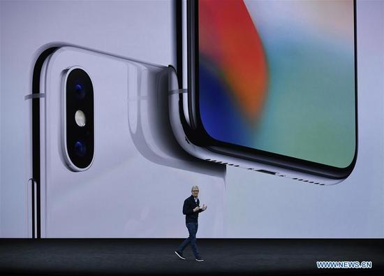 Apple's Chief Executive Officer (CEO) Tim Cook introduces new iPhone X during a special event in Cupertino, California, the United States on Sept. 12, 2017. Apple Inc. released a series of new products and services in Cupertino on Tuesday. (Xinhua)
