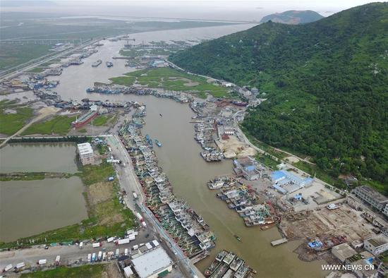 Fishing boats are docked at a port in Cangnan of Wenzhou, east China's Zhejiang Province, Sept. 12, 2017. China's National Meteorological Center (NMC) Tuesday issued a blue alert for Typhoon Talim, which could intensify to a super typhoon and is likely to hit China's southeastern coast Thursday or Friday. (Xinhua/Su Qiaojiang)