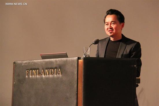 Chinese architect Zhang Ke delivers a speech after he was awarded 2017 Alvar Aalto Medal in Helsinki, Finland on Sept. 12, 2017. Chinese architect Zhang Ke was awarded 2017 Alvar Aalto Medal, one of the most internationally recognized architecture prizes, Finland's Alvar Aalto Foundation announced on Tuesday. (Xinhua)