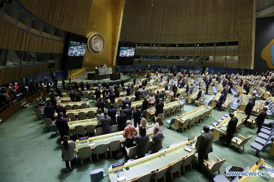 Photo taken on Sept. 12, 2017, shows the United Nations General Assembly observing one minute of silence during the opening of the 72nd session at the UN headquarters in New York. Miroslav Lajcak, the new President of the UN General Assembly, on Tuesday declared the opening of the 72 session of the decision-making body of the United Nations. (Xinhua/Li Muzi)