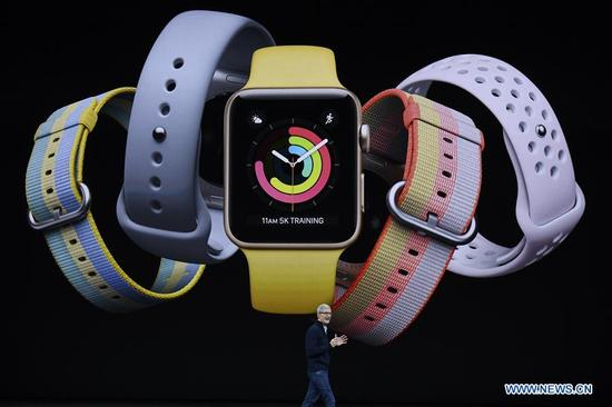 Apple's Chief Executive Officer (CEO) Tim Cook introduces new Apple Watch products during a special event in Cupertino, California, the United States on Sept. 12, 2017. Apple Inc. released a series of new products and services in Cupertino on Tuesday. (Xinhua)