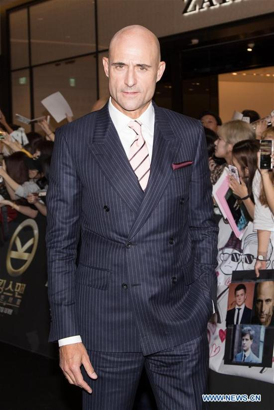 """Actor Mark Strong attends the red carpet event of the movie """"KING'S MAN:THE GOLDEN CIRCLE"""" in Seoul, South Korea, Sept. 20, 2017. The film will be released in South Korea on Sept. 27. (Xinhua/Lee Sang-ho)"""