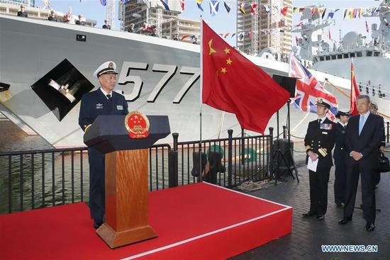 China's 26th naval escort fleet commander Wang Zhongcai (1st L) speaks during the welcoming ceremony in London, Britain, on Oct. 3, 2017. China's 26th naval escort fleet arrived here Tuesday for a five-day friendly visit to Britain. This is the first time for Chinese naval ships to pay an official visit to the British capital city. (Xinhua/Tim Ireland)