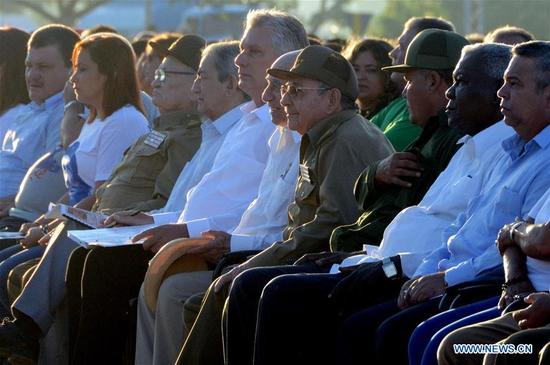 Cuban President Raul Castro attends an event commemorating the 50th anniversary of the death of Latin American revolutionary Ernesto