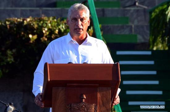 Cuban First Vice President Miguel Diaz-Canel delivers a speech during an event commemorating the 50th anniversary of the death of Latin American revolutionary Ernesto