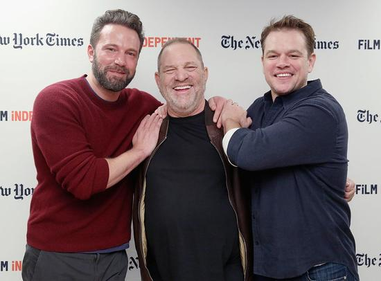 Ben Affleck, Harvey Weinstein, and Matt Damon in New York City in October 2016. (Photo: Mireya Acierto/WireImage)