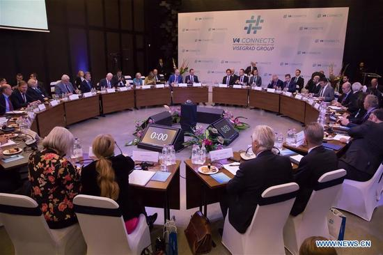 Photo taken on Oct. 11, 2017 shows the general view of a meeting of foreign ministers of Western Balkans in Budapest, Hungary. The Visegrad countries, namely Poland, Czech Republic, Hungary and Slovakia, have strongly made a stance in favor of the enlargement of the European Union (EU) regarding the Western Balkans on Wednesday following the meeting of the foreign ministers of the region. (Xinhua/Attila Volgyi)
