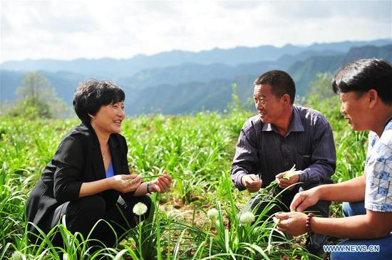 Yu Liufen (L), secretary of the Communist Party of China (CPC) branch of Yanbo Village, talks with farmers about leek planting plan in Yanbo Village of Panzhou, southwest China's Guizhou Province, Oct. 9, 2017. With Yu's efforts in the past 17 years, the remote village in mountainous region has shaked off poverty. Yu has been elected as a delegate to attend the Party's 19th National Congress in Beijing from Oct. 18.
