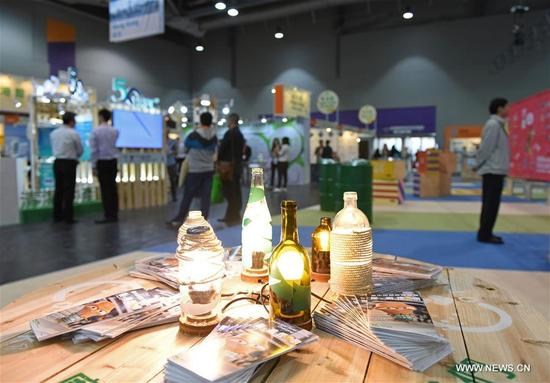 The kitchen power generation device is seen at the International Trade Fair on Environmental Protection in Hong Kong, south China, Oct. 26, 2017. The fair will be held from Oct. 26 to 29 at the AsiaWorld-Expo in Hong Kong, attracting about 340 exhibitors from 19 countries and regions. (Xinhua/Liu Yun)