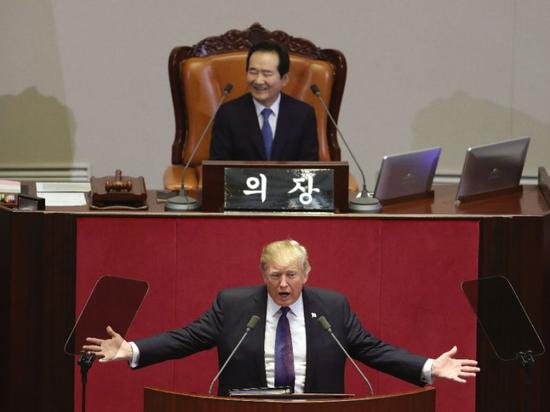 US president Donald Trump delivered a speech to South Korean lawmakers Wednesday