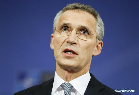 NATO Secretary General Jens Stoltenberg addresses a press conference after the first day of a two-day NATO Defense Ministers meeting at its headquarters in Brussels, Belgium, Nov. 8, 2017. NATO defense ministers on Wednesday agreed to upgrade command structure, NATO Secretary General Jens Stoltenberg said at a press conference following the ministerial meeting. The changes to the command structure will include two new commands to improve the movement of troops across the Atlantic and within Europe. (Xinhua/Ye Pingfan)