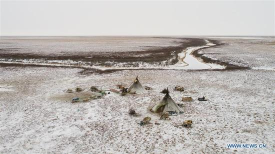 Aerial photo taken on Nov. 5, 2017 shows a general view of a Nenets camp, around 200km from Salekhard, Russia. The Nenets are an indigenous people in northern arctic Russia. According to the latest census in 2010, there are around 45,000 Nenets in the Russian Federation, most of them living in the Yamalo-Nenets Autonomous Okrug and Nenets Autonomous Okrug. (Xinhua/Bai Xueqi)