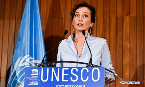 Audrey Azoulay delivers a speech at the headquarters of United Nations Educational, Scientific and Cultural Organization (UNESCO) in Paris, France, on Oct. 13, 2017. French candidate Audrey Azoulay was nominated as candidate for next Director-General of UNESCO on Friday by the executive board. (Xinhua/Chen Yichen)