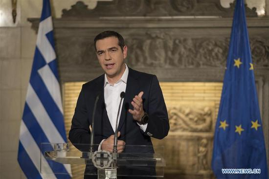 Greek Prime Minister Alexis Tsipras speaks during a televised address in Athens, Capital of Greece, on Nov. 13, 2017. The Greek government will distribute one-off welfare benefits totaling 1.4 billion euros (1.6 billion U.S. dollars) to more than 3.4 million citizens this December, Greek Prime Minister Alexis Tsipras said on Monday in a televised address. (Xinhua/Andrea Bonetti)