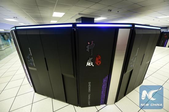 Photo taken on June 20, 2016 shows Sunway TaihuLight, a new Chinese supercomputer, in Wuxi, east China's Jiangsu Province. (Xinhua/Li Xiang)