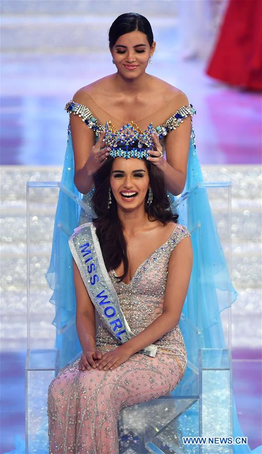 India's Manushi Chhillar is crowned at the 67th Miss World Competition in Sanya, south China's Hainan Province, Nov. 18, 2017. (Xinhua/Guo Cheng)