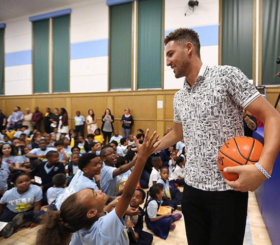 Klay Thompson's influence and interests expended beyond the basketball court. The Thompson family established the Thompson Family Foundation to help young people have better access to a good education and quality health care. Mychel Thompson will take the four Golden league players on a tour of the foundation's basketball facility.