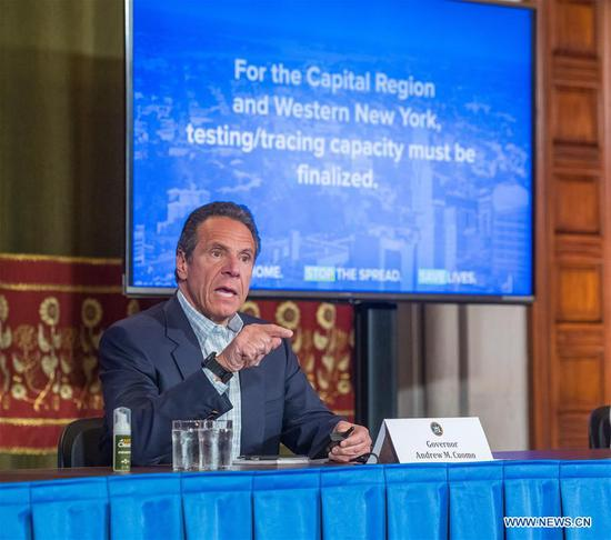 New York State Governor Andrew Cuomo speaks during a daily COVID-19 press briefing in Albany of New York State, the United States, on May 17, 2020. Cuomo announced on Sunday that New York State has doubled testing capacity to reach 40,000 tests per day, encouraging eligible New Yorkers to get tested for COVID-19. (Darren McGee/Office of Governor Andrew M. Cuomo/Handout via Xinhua)