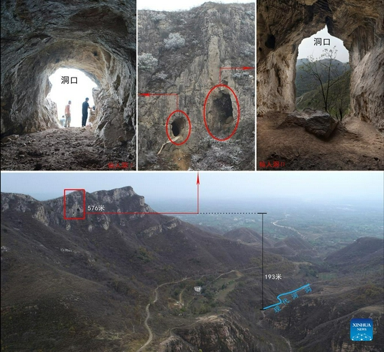 Combo photo shows a cave site where a human skull fossil dating back 32,000 years was found, in Lushan County, central China's Henan Province. A human skull fossil dating back 32,000 years was found in a cave site in Henan, local archaeological authorities said on Sept. 27, 2021. The cave site is located in Guanyinsi Township, Lushan County. Earlier paleolithic archaeological research in the area has uncovered human fossils, animal fossils and stone tools. (Henan Provincial Institute of Cultural Heritage and Archaeology/Handout via Xinhua)