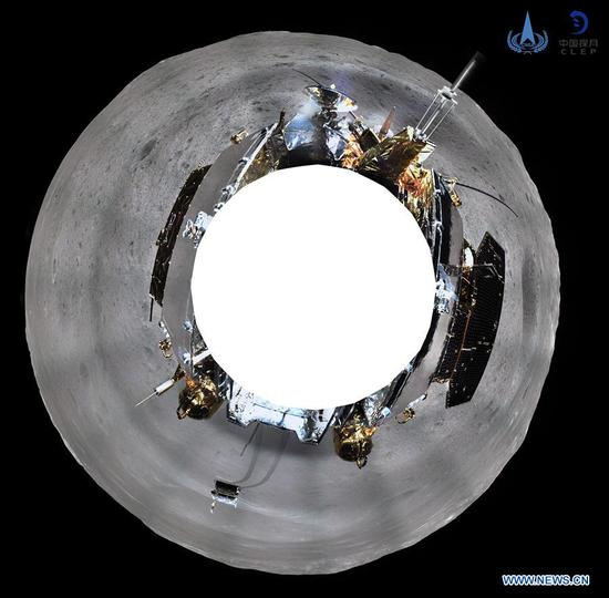 The China National Space Administration on Jan. 11, 2019 releases the 360-degree panoramic photos taken by a camera installed on China's Chang'e-4 lunar probe (azimuthal projection). China's Chang'e-4 probe took panoramic photos on the lunar surface after it successfully made the first ever soft-landing on the far side of the moon. (Xinhua/China National Space Administration)