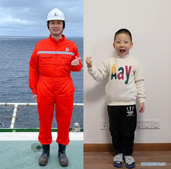 Combo photo shows Shi Jihui making a hand heart gesture on the Kantan No. 3 offshore oil platform in the northern waters of the South China Sea, Feb. 10, 2021 (L), and his son making the same gesture at their home in Shanghai, east China, Feb. 11, 2021. At present, the platform is drilling offshore oil and gas resources in the northern South China Sea. During the Spring Festival this year, Shi Jihui, the manager of the platform, stuck to his post on the platform and was unable to reunite with his wife and child in Shanghai. This is also the eighth time he spent Chinese Lunar New Year on the drilling platform. As a part of the preventative measures against COVID-19, China has encouraged people to stay locally for the Chinese New Year. Many Chinese chose not to go back to their hometowns for family gatherings, opting instead to stay where they were for the most important holiday of the year. Xinhua reporters helped those who didn't go back to their hometowns