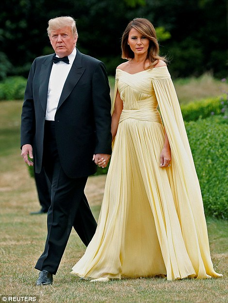 President Trump and his wife walked hand-in-hand to Marine One which flew them from London to the evening's gala dinner