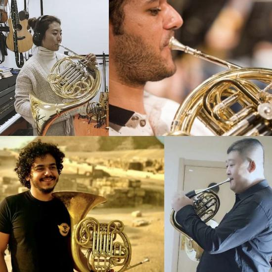 This combination of file pictures shows the musicians Niu Jun from China, Boles Bola from Egypt, Amr Ashraf from Egypt and Yu Shu from China (L-R, top to bottom) who participated in the virtual performance of the Triumphal March. (Chinese Embassy in Egypt/Handout via Xinhua)