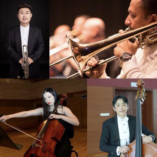 This combination of file pictures shows the musicians Jiao Jian from China, Ahmed Abdel Aziz from Egypt, Qu Yuanyuan from China and Yang Mo from China (L-R, top to bottom) who participated in the virtual performance of the Triumphal March. (Chinese Embassy in Egypt/Handout via Xinhua)