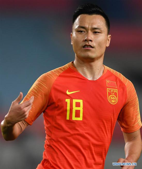 Gao Lin of China celebrates after scoring during the CFA Team China International Football Match 2018 between China and Syria in Nanjing, capital of east China's Jiangsu Province, Oct. 16, 2018. China won 2-0. (Xinhua/Ji Chunpeng)