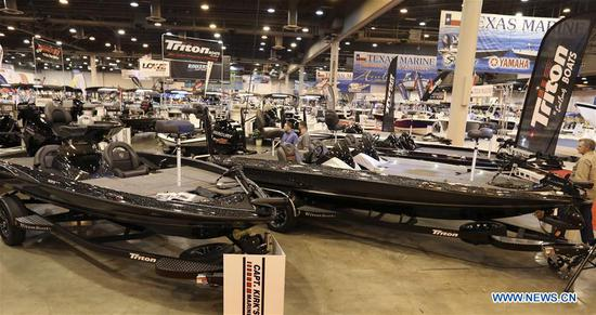 Boats are on display at Houston International Boat, Sport & Travel Show in Houston, the United States, on Jan. 8, 2019. Over 1,000 boats are on display during the annual show from Jan. 4 to Jan. 13. Many retail venders use the