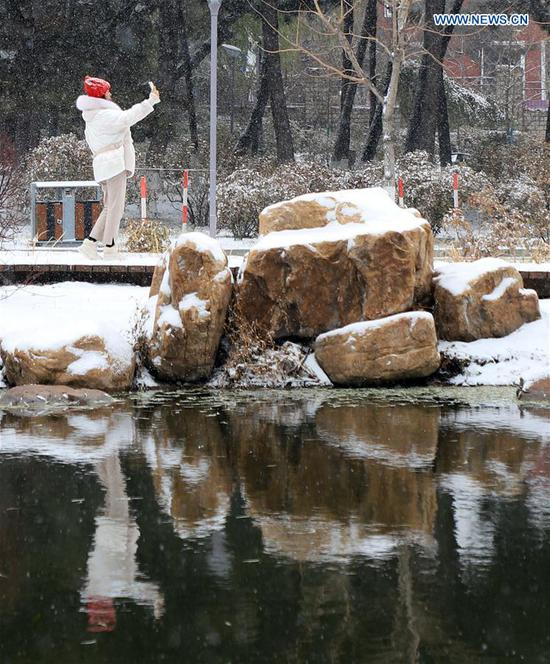 A citizen takes a selfie in snow in Changchun, capital of northeast China's Jilin Province, Nov. 13, 2019. A snowfall hit Changchun on Wednesday. (Xinhua/Luo Yuan)