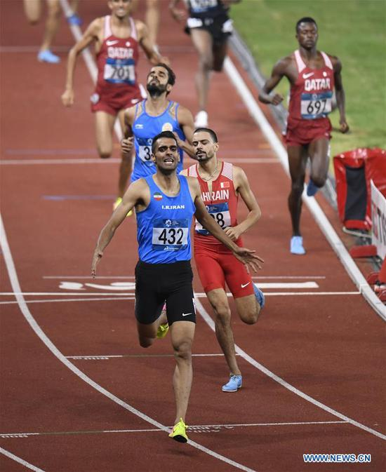 Amir Moradi of Iran competes during men's 1500m final of athletics at the 18th Asian Games in Jakarta, Indonesia on Aug. 30, 2018. (Xinhua/Huang Zongzhi)