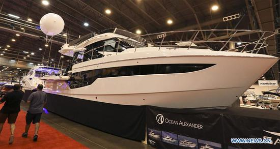 A 2019 Galeon 500 Fly yacht is seen at Houston International Boat, Sport & Travel Show in Houston, the United States, on Jan. 8, 2019. Over 1,000 boats are on display during the annual show from Jan. 4 to Jan. 13. Many retail venders use the
