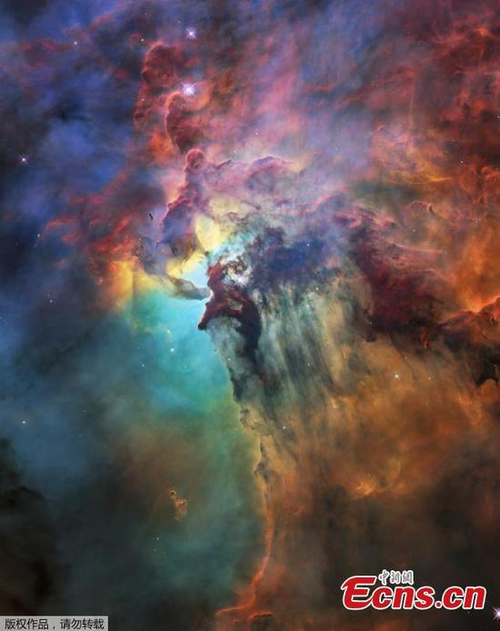 A photo released on April 19, 2018 by the European Space Agency shows this colourful image of the Lagoon Nebula to celebrate the 28th anniversary space of the the NASA/ESA Hubble Space Telescope. The whole nebula, about 4000 light-years away, is an incredible 55 light-years wide and 20 light-years tall. This image shows only a small part of this turbulent star-formation region, about four light-years across. This stunning nebula was first catalogued in 1654 by the Italian astronomer Giovanni Battista Hodierna, who sought to record nebulous objects in the night sky so they would not be mistaken for comets. Since Hodierna's observations, the Lagoon Nebula has been photographed and analysed by many telescopes and astronomers all over the world. The observations were taken by Hubble's Wide Field Camera 3 between 12 February and 18 February 2018. (Photo/Agencies)
