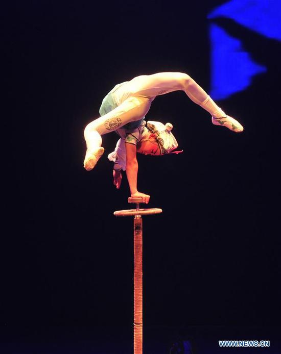 An acrobat performs during the 17th China Wuqiao International Circus Festival at Cangzhou Gymnasium in Cangzhou City, north China's Hebei Province, Nov. 3, 2019. (Xinhua/Mu Yu)