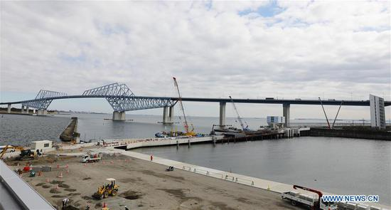 Sea Forest Waterway, one of the Tokyo 2020 Olympic Games venues, is under construction in Tokyo, Japan, on Feb. 12, 2019. This venue for canoe (sprint) and rowing games has been finished 77% construction works till the end of last month. (Xinhua/Du Xiaoyi)
