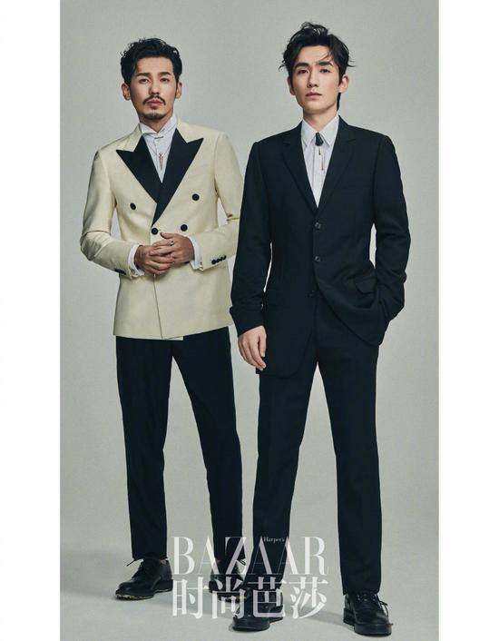Actor Zhu Yilong (left) and actor Bai Yu pose for the fashion magazine. [Photo/Official Weibo account of Our Street Style]
