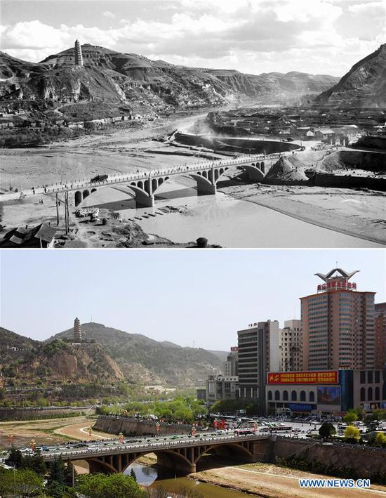 Combo photo shows a view of Yan'an, northwest China's Shaanxi Province in the 1960s (top, file photo) and on April 25, 2019 (bottom, taken by Liu Xiao) respectively. Yan'an, a former revolutionary base of the Communist Party of China (CPC), is no longer labeled