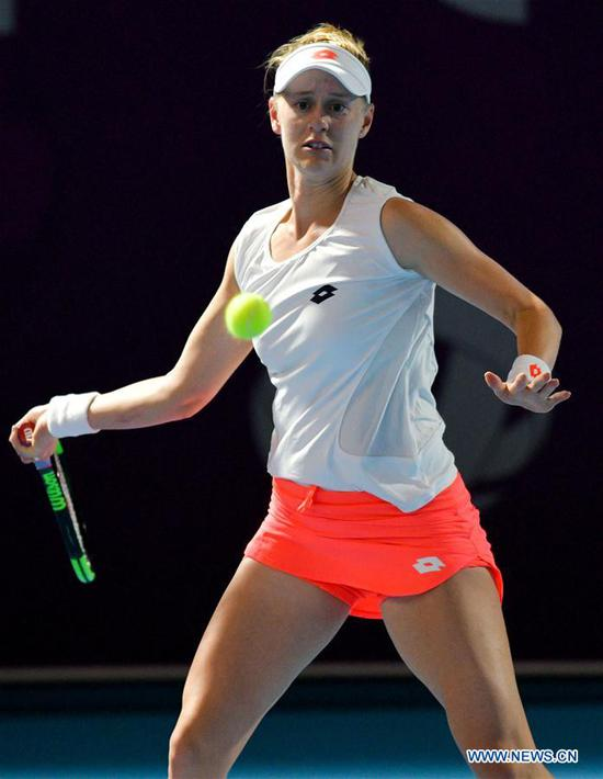 Alison Riske of the United States hits a return during the final qualifications round against Zhu Lin of China at the 2019 WTA Qatar Open in Doha, Qatar, on Feb. 11, 2019. Alison Riske lost the match 0-2. (Xinhua/Nikku)