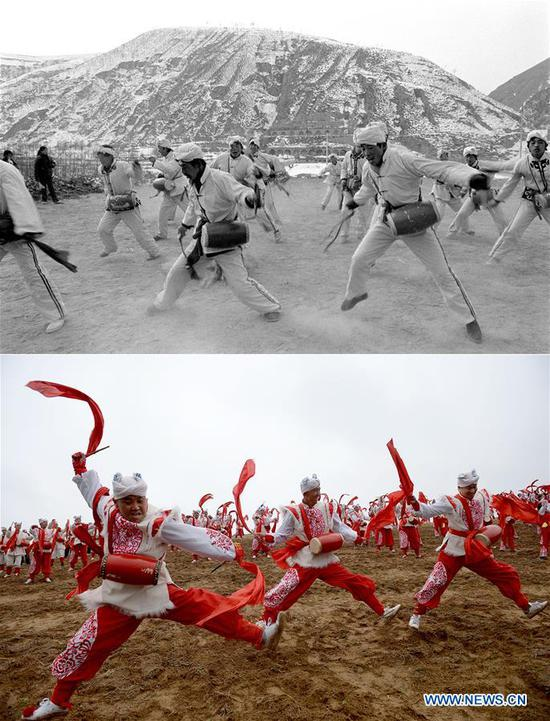 Combo photo shows villagers practicing waist drum dance at Dishuigou Village in Ansai District of Yan'an, northwest China's Shaanxi Province on Feb. 5, 1989 (top, file photo) and waist drummer performing in Nangou of Ansai District in Yan'an on Oct. 20, 2018 (bottom, taken by Liu Xiao). Yan'an, a former revolutionary base of the Communist Party of China (CPC), is no longer labeled